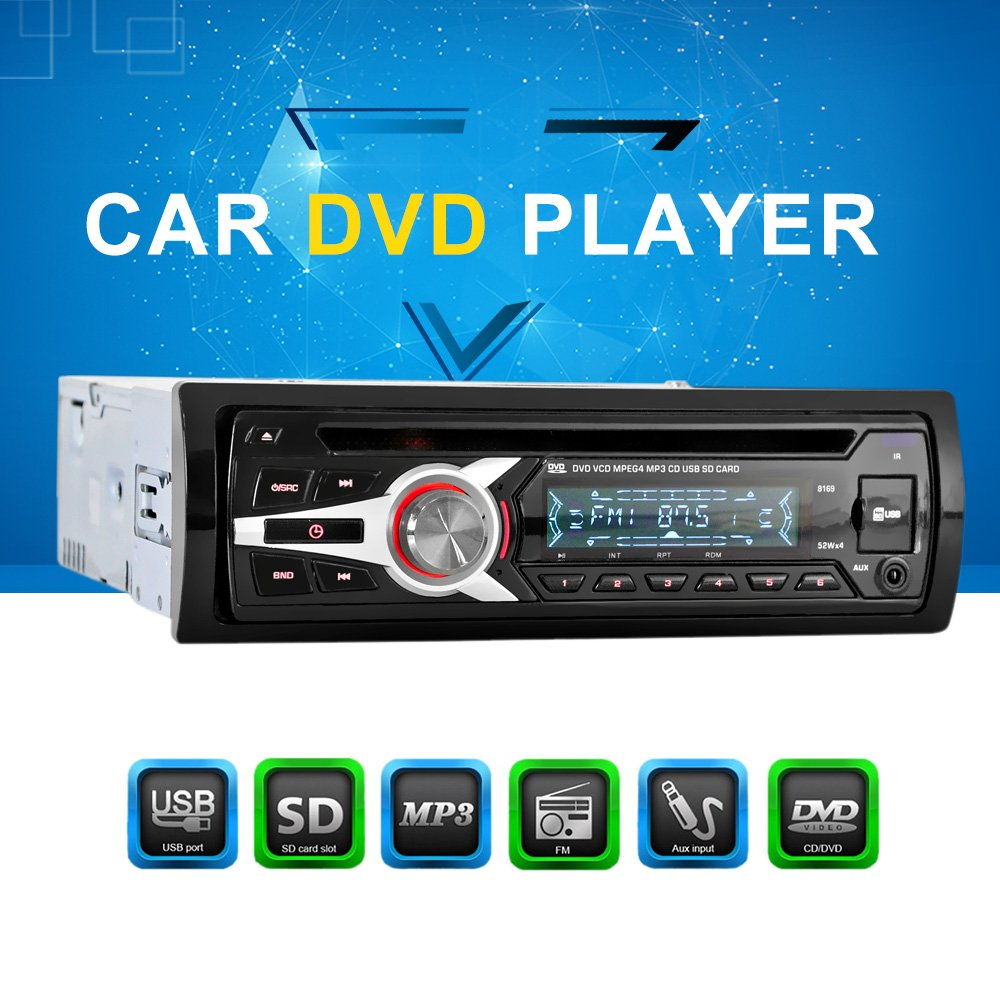 Kkmoon 1 din car stereo 12v fm aux input car stereo radio audio kkmoon 1 din car stereo 12v fm aux input car stereo radio audio player receiver cd dvd vcd wma mp3 player with sdusb port amazon electronics publicscrutiny Images