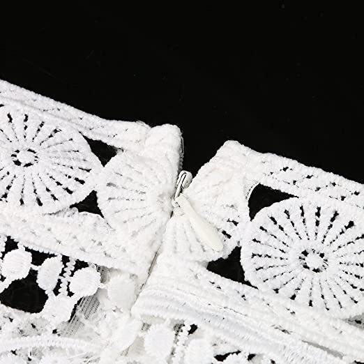 TEBAISE letnia sukienka w stylu boho, z odsłoniętymi ramionami, minisukienka z koronką, sukienka koktajlowa, sukienka na imprezę, sukienka letnia z koronką w kwiaty, sukienka na karnawał, bambus,