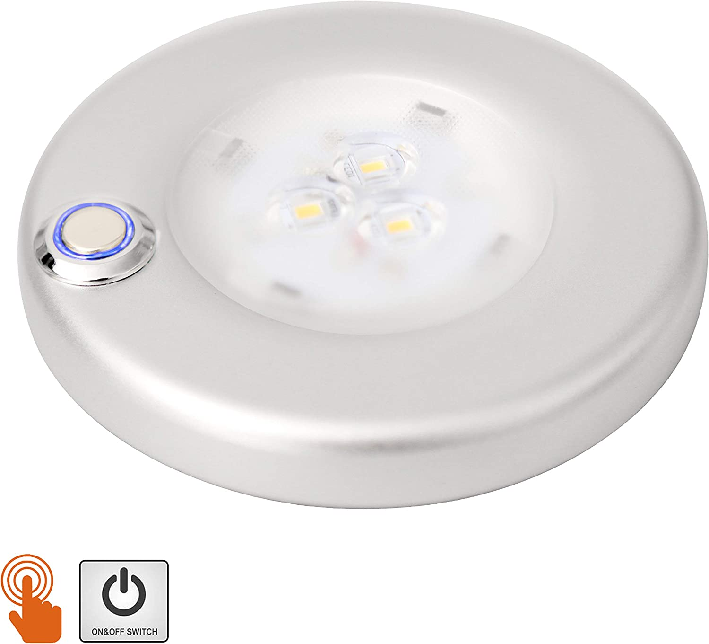 Facon 12 V, 3 W 4 Pulgadas Luces Interiores LED de Montaje en Superficie con Interruptor de Encendido/Apagado Regulable para Barco, Remolque, Caravana, Autocaravana (Interruptor táctil)