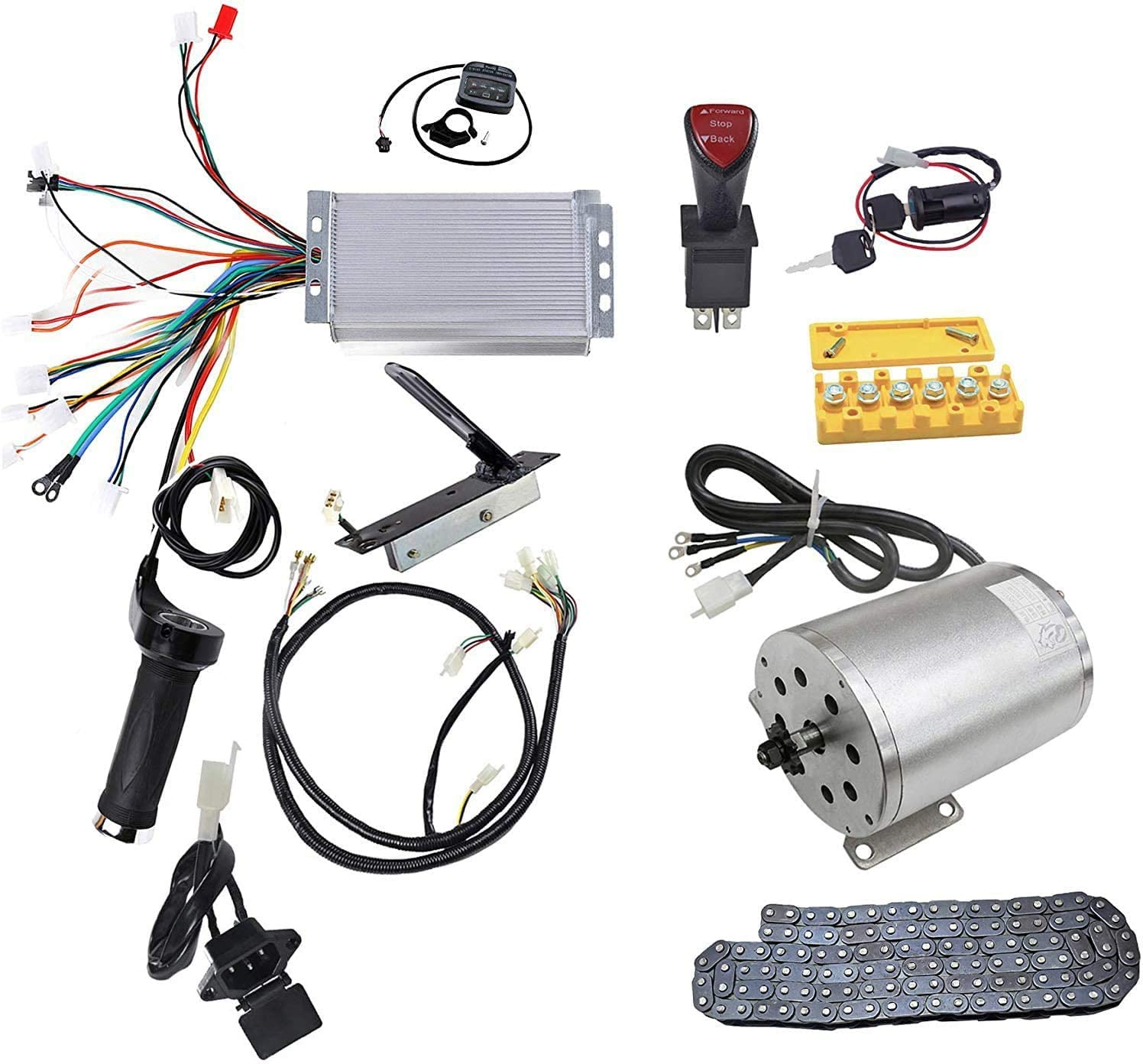 Wphmoto 48v 1800w Brushless Electric Motor Controller Throttle Grip Pedal Wiring Harness Charger Plug Chain Ignition Key Kit For Go Kart Scooter