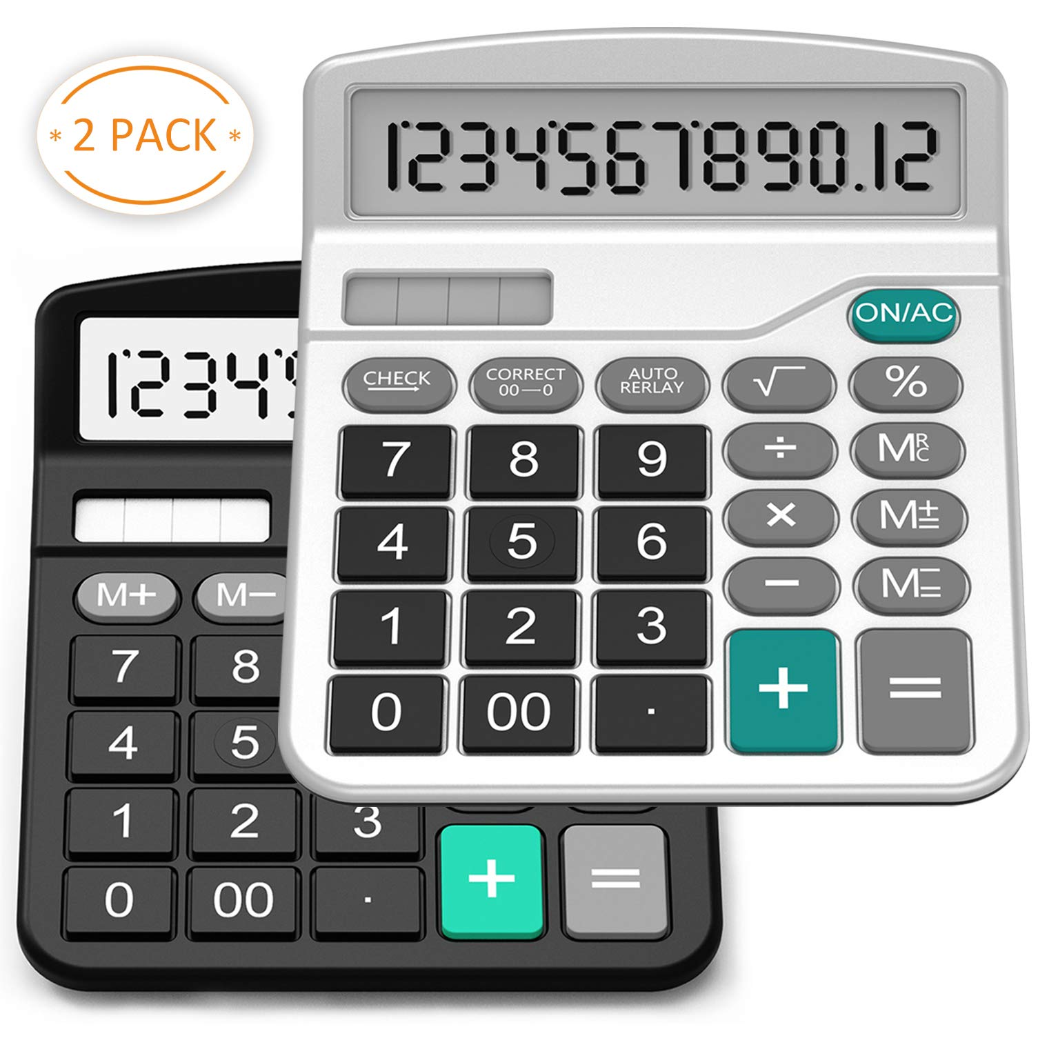 Calculator, Splaks 2 pack Standard Functional Desktop Calculator Sola and AA Battery Dual Power Electronic Calculator with 12-digit Large Display (1 Basic Black&1 Updated Silver)