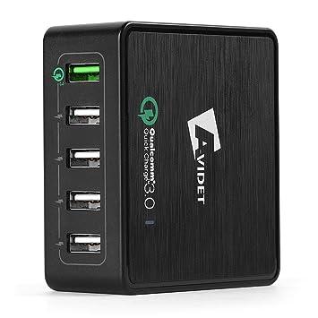 TUTUO Cargador USB Quick Charge 3.0 Carga Rápida 40W 5 Puertos Múltiple Estación de Carga Adaptador para iPhone 7 Plus, Samsung Galaxy, Huawei, iPad ...