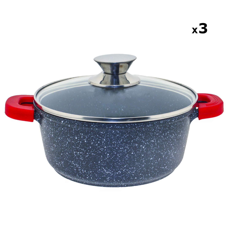 Jonas Batería de Cocina 18 Piezas - 3 Cacerolas con Tapas (20/24/28 cm) + 3 Sartenes (16/18/20 cm) con Revestimiento Piedra sin PFOA Antiadherente ...