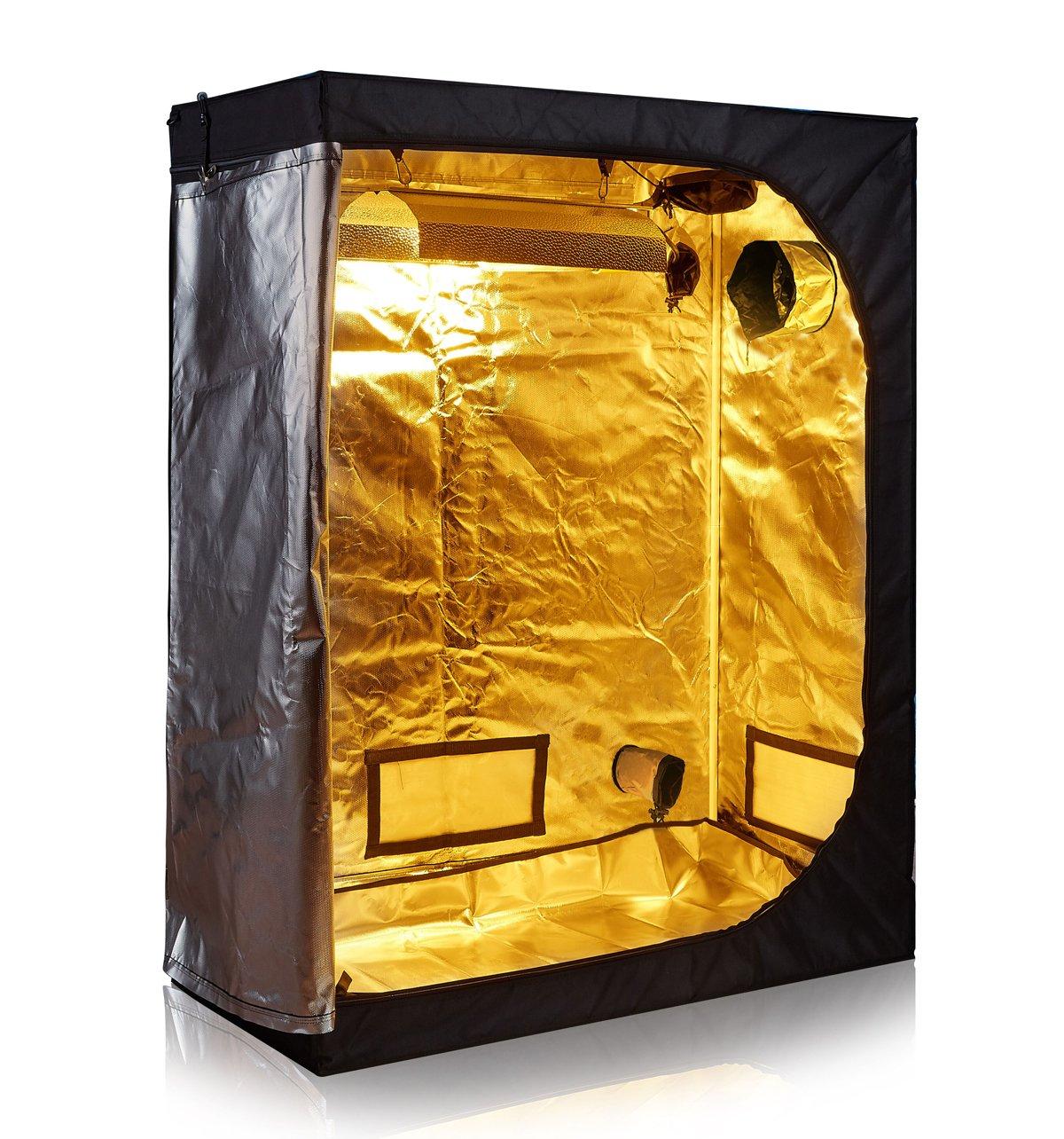 TopoLite 48''x24''x60'' 600D Grow Tent Room Reflective Mylar Indoor Garden Growing Room Hydroponic System Dark Room