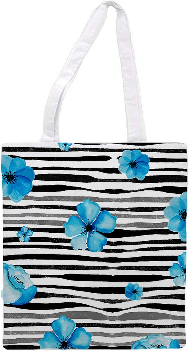 Women's tote bag/Blue Flowers and strips - Sports Gym Lunch Yoga Shopping Travel Bag Washable - 1.47X0.98 Ft
