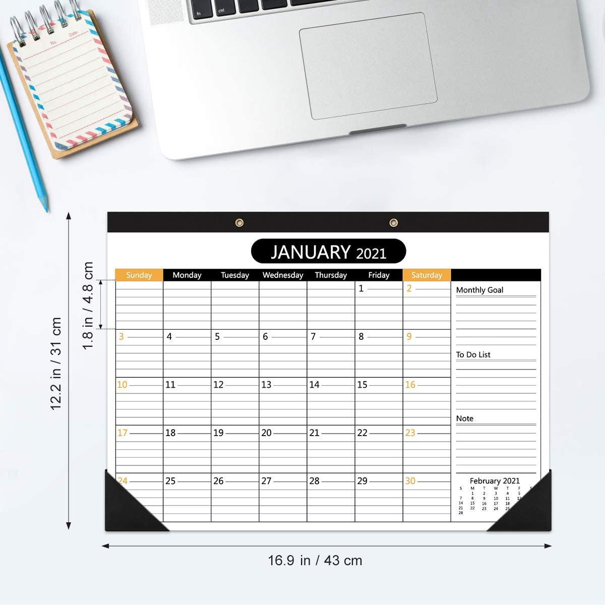 2021-2022 Wall Calendar, Large Monthly Desk Calendar with To Do Planning Stickers Ruled Blocks