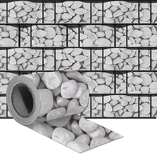 Marble Gravel Hengmei Privacy Film PVC Privacy Strip with Fence Film Fixing Clips Windbreak Rod Mat Fence Garden Opaque Double Rod Mats for Garden Fence Balcony