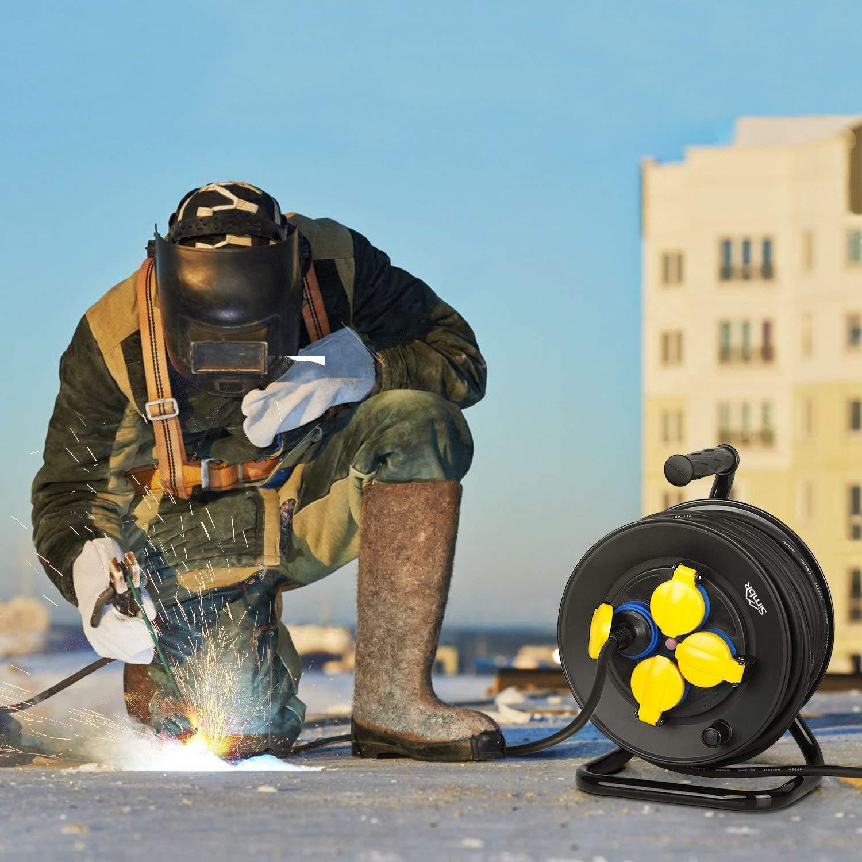 D/évidoir de c/âble /étanche SIMBR avec protection contre la surchauffe 25 m H07RN-F 3 x 1,5 mm2 avec 4 prises 230 V//16 A pour lext/érieur Noir