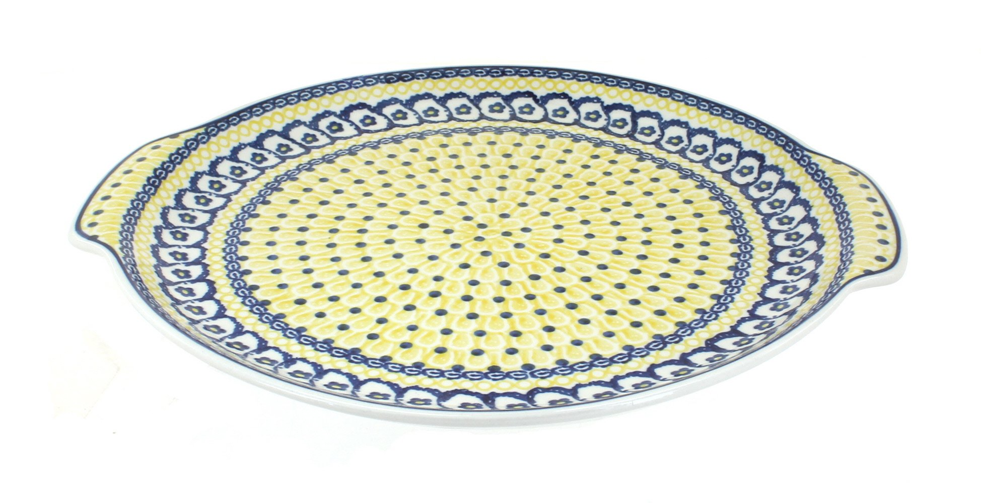 Polish Pottery Saffron Round Serving Tray with Handles