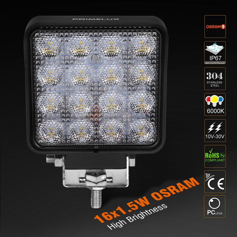 Off Road Vehicles Primelux 4-inch 3000lm 10-30V Square OSRAM LED Work Light Backup Light Auxiliary Reverse Lights for Trucks Farm Tractors Trailers Forklifts Mining Single
