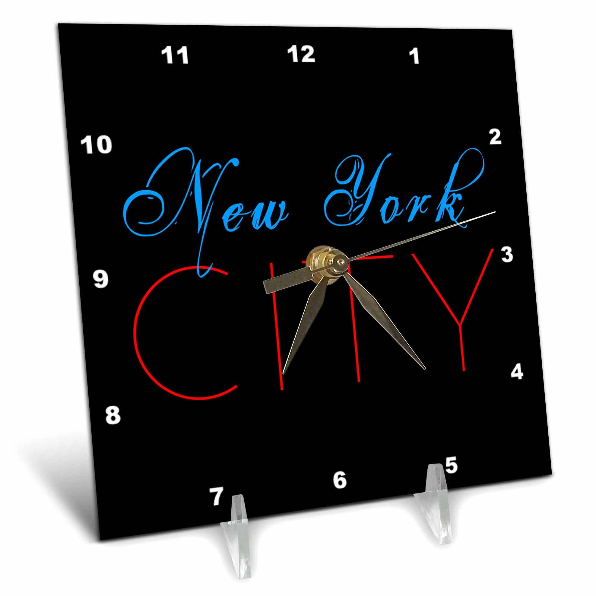3dRose Alexis Design - America - Blue text New York, red text City, black background - 6x6 Desk Clock (dc_270550_1)