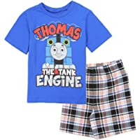 Thomas and Friends Little Boys' Toddler 2 Piece Plaid Shorts Set