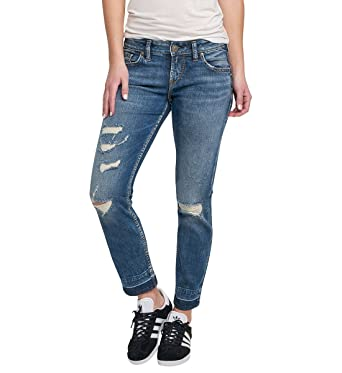 4624b61716d Amazon.com  Silver Jeans Co. Women s Sam Mid Rise Boyfriend Jeans ...