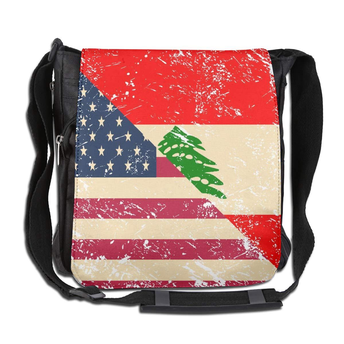 USA And Lebanese Retro Flag Crossbody Shoulder Bag Durable Casual Daily Messenger Bag Satchel School Bag For Women And Men