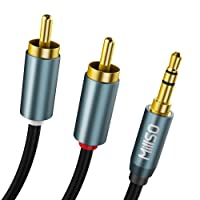 MillSO RCA Cable 3.5mm Jack to 2X RCA Connector Y Splitter Stereo Audio RCA to Jack Cable (24K Gold Plated) - 1M/3.3ft