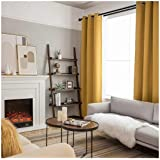 SINGINGLORY Yellow Blackout Curtains for Bedroom Living Room, 42 x 84 Inches Long Curtains Panels Set of 2 Linen…