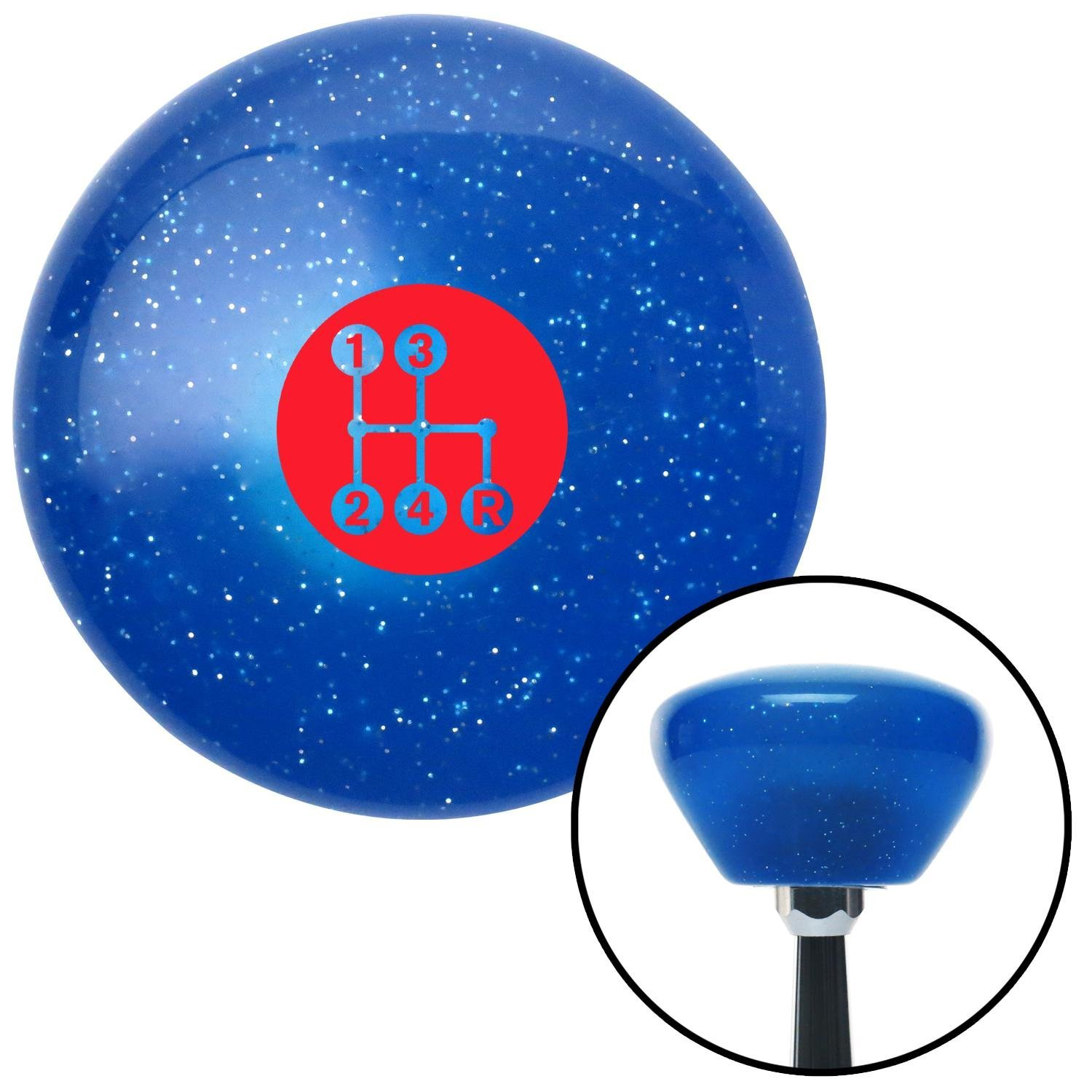 Red 4 Speed Shift Pattern - Dots 6 Blue Retro Metal Flake with M16 x 1.5 Insert American Shifter 289916 Shift Knob
