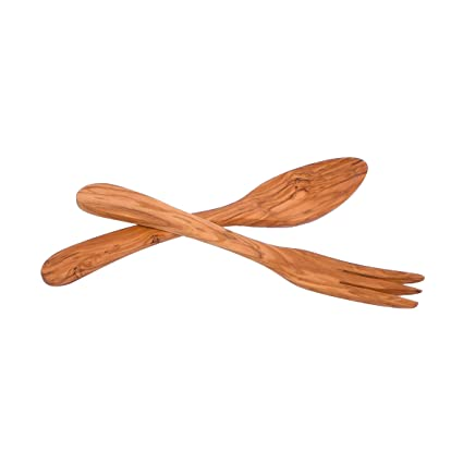 Olive Wood Salad Server (Spoon + Fork) Italian Wood, Handcrafted in  Albania  9 84 Inches