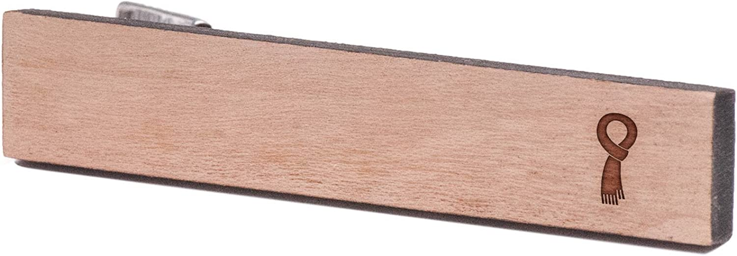 Cherry Wood Tie Bar Engraved in The USA Wooden Accessories Company Wooden Tie Clips with Laser Engraved Scarf Design