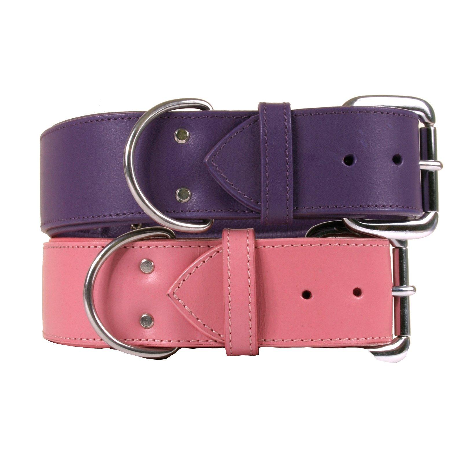 Dallas Luxury Leather Padded Dog Collar -Pink - 22'' x 1.5''