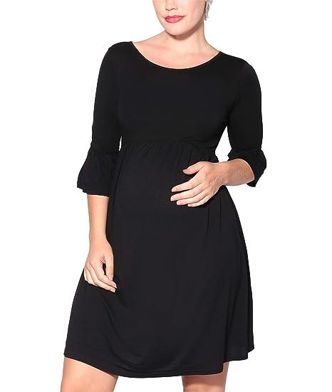7d2f76b288c6 KRISP® Maternity Soft Stretch Jersey Knee Long Ruffle Sleeve Loose  Pregnancy Midi Dress Red  Amazon.co.uk  Clothing