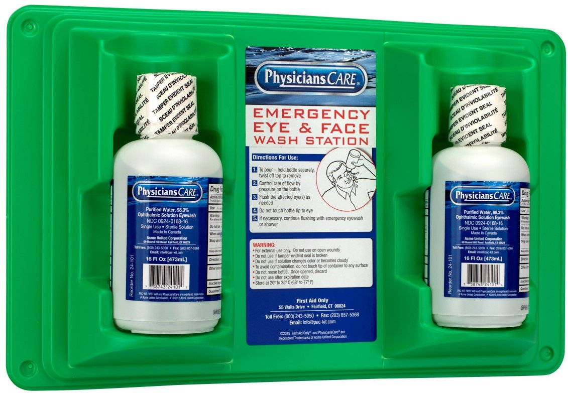 PhysiciansCare by First Aid Only 24-102 Wall Mountable Eye and Skin Flush Station with Two 16 oz Bottles, 16-1/2'' L x 3-3/4'' W x 13-1/2'' H by Pac-Kit
