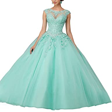 a0d8260ace4 JinJia Women s Puffy Sweet 15 Birthday Dresses Ball Gowns Appliqued Lace Quinceanera  Dress at Amazon Women s Clothing store