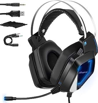 Mbuynow Auriculares para Gaming con Micrófono PS4 PC Xbox One, Cascos Gaming, Cacos de Juego Reducción de Ruido Almohadilla Suave 3.5mm Compatible con Ordenador Portátil Tableta/Teléfono Móvil: Amazon.es: Electrónica