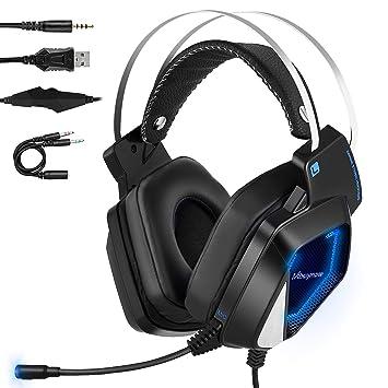 Mbuynow Auriculares para Gaming con Micrófono PS4 PC Xbox One, Cascos Gaming, Cacos de Juego Reducción de Ruido Almohadilla Suave 3.5mm Compatible con ...