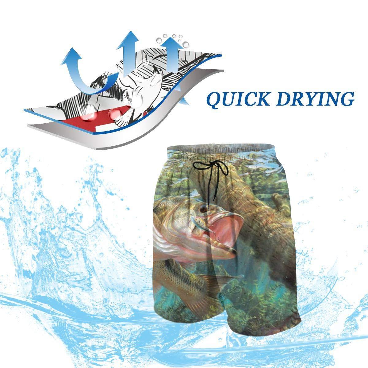 Fishing Bass Mouth Teenager Boys Beachwear Beach Shorts Pants Board Shorts