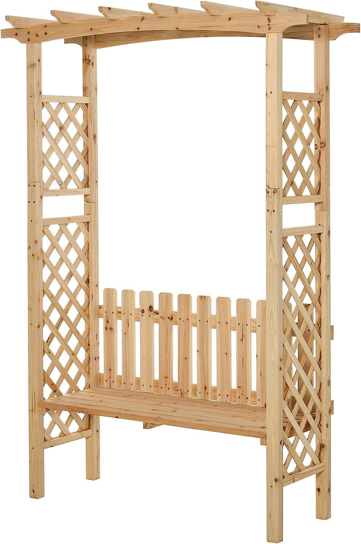 Amazon Com Outsunny Outdoor Garden Bench Arch Pergola With Natural Fir Wood Build Protective Varnish 2 Person Ergonomic Bench Garden Outdoor