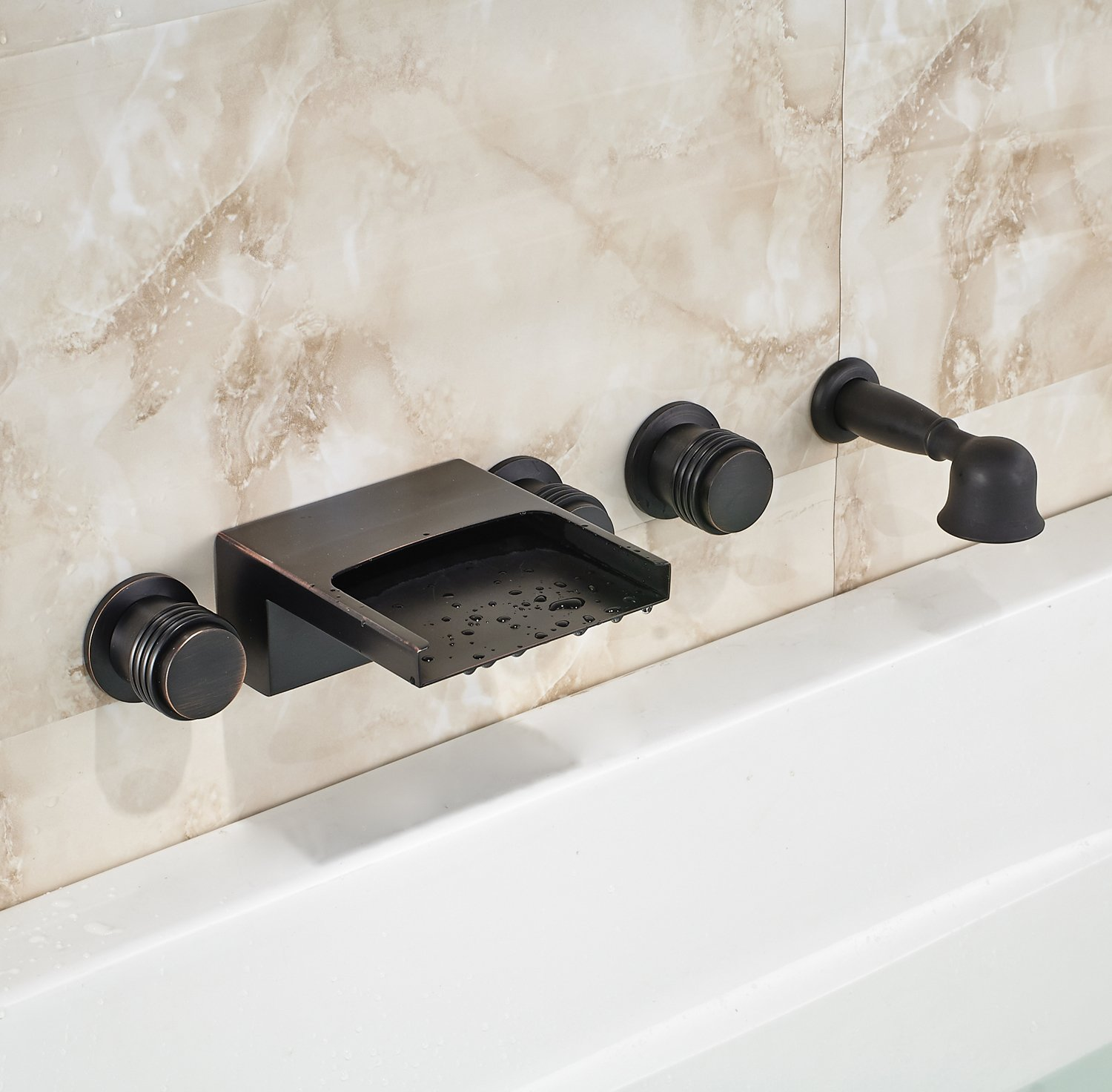 Oil Rubbed Bronze Wall Mounted 3 Knobs Bathtub Faucet Waterfall ...