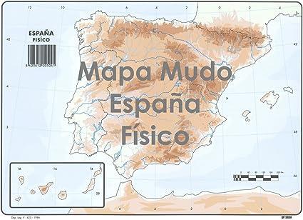 Mapa Mudo SELVI Color Din-A4 España Físico, Caja x50: Amazon.es: Oficina y papelería