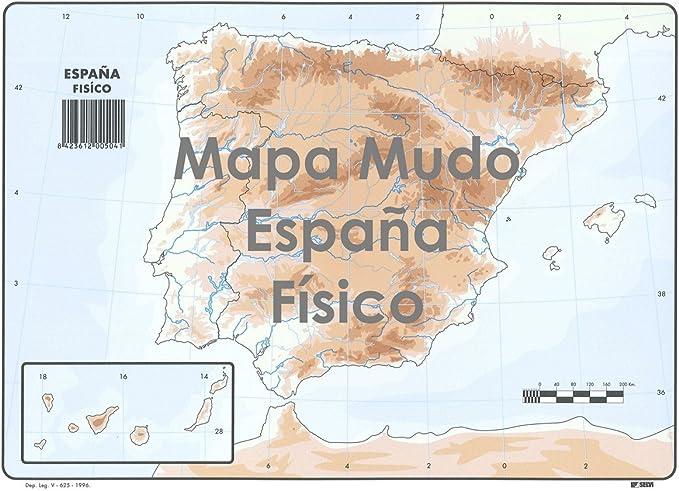 Mapa Mudo SELVI Color Din-A4 España Físico, Caja x50: Amazon.es ...