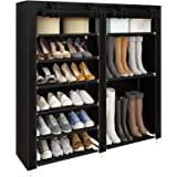 UDEAR Shoe Rack Portable Boots Storage Free Standing Shoe Organizer with Non-Woven Fabric Cover,Black