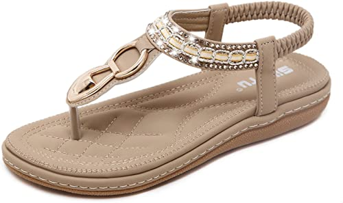 Yooeen Sandalen Damen Sommer Bohemian Bequeme Flach Zehentrenner Sandalen Elastische T Strap Strass Clip Toe Sandalen Flip Flops Flache Schuhe Große