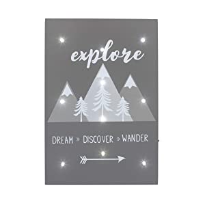 "NoJo Lighted Wall Décor, Mountains""Explore, Dream, Discover, Wander"", Grey/White/Charcoal"