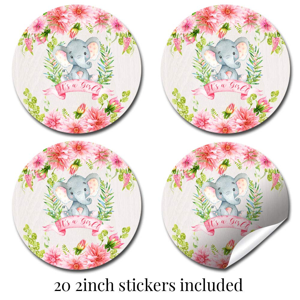 Deluxe Watercolor Floral Elephant Baby Shower Party Bundle for Girls, Includes 20 each of 5''x7'' Fill In Invitations, Diaper Raffle Tickets, Bring a Book Cards, 2'' Thank You Favor Stickers w/ Envelopes by Amanda Creation (Image #5)