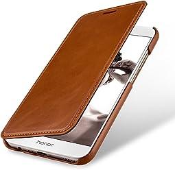StilGut Book Type sans Clip, Housse en Cuir pour Huawei Honor 8 Pro. Etui de Protection de Cuir véritable à Ouverture latérale, Cognac
