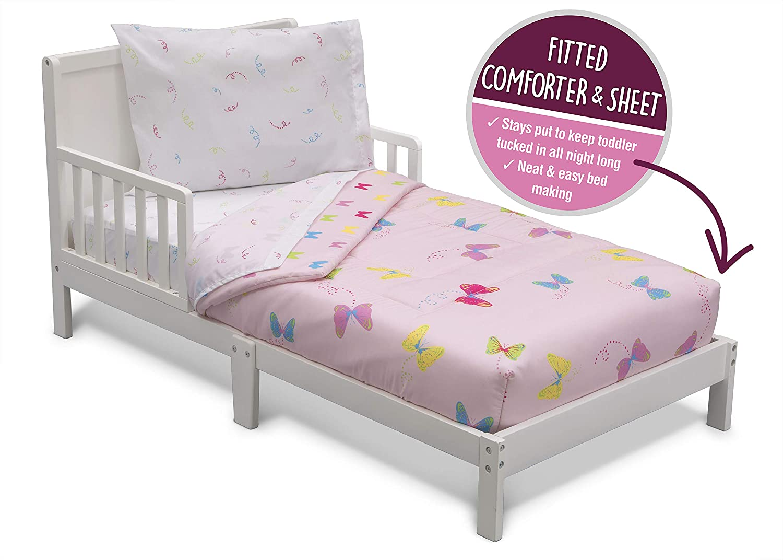 Delta Children Toddler Bedding Set   Girls 4 Piece Collection   Fitted Sheet, Flat Top Sheet w/Elastic Bottom, Fitted Comforter w/Elastic Bottom, Pillowcase, Butterflies   Pink/Multi