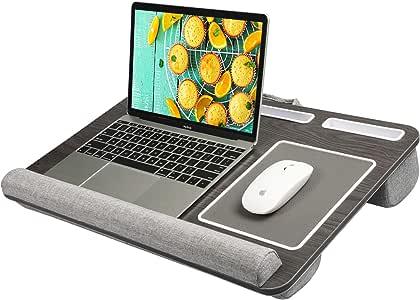 """HUANUO Laptop Tray met Kussen, Ingebouwd Muismat en Pols Pad voor Notebook, MacBook tot 17"""" met Tablet, Pen en Telefoonhouder"""