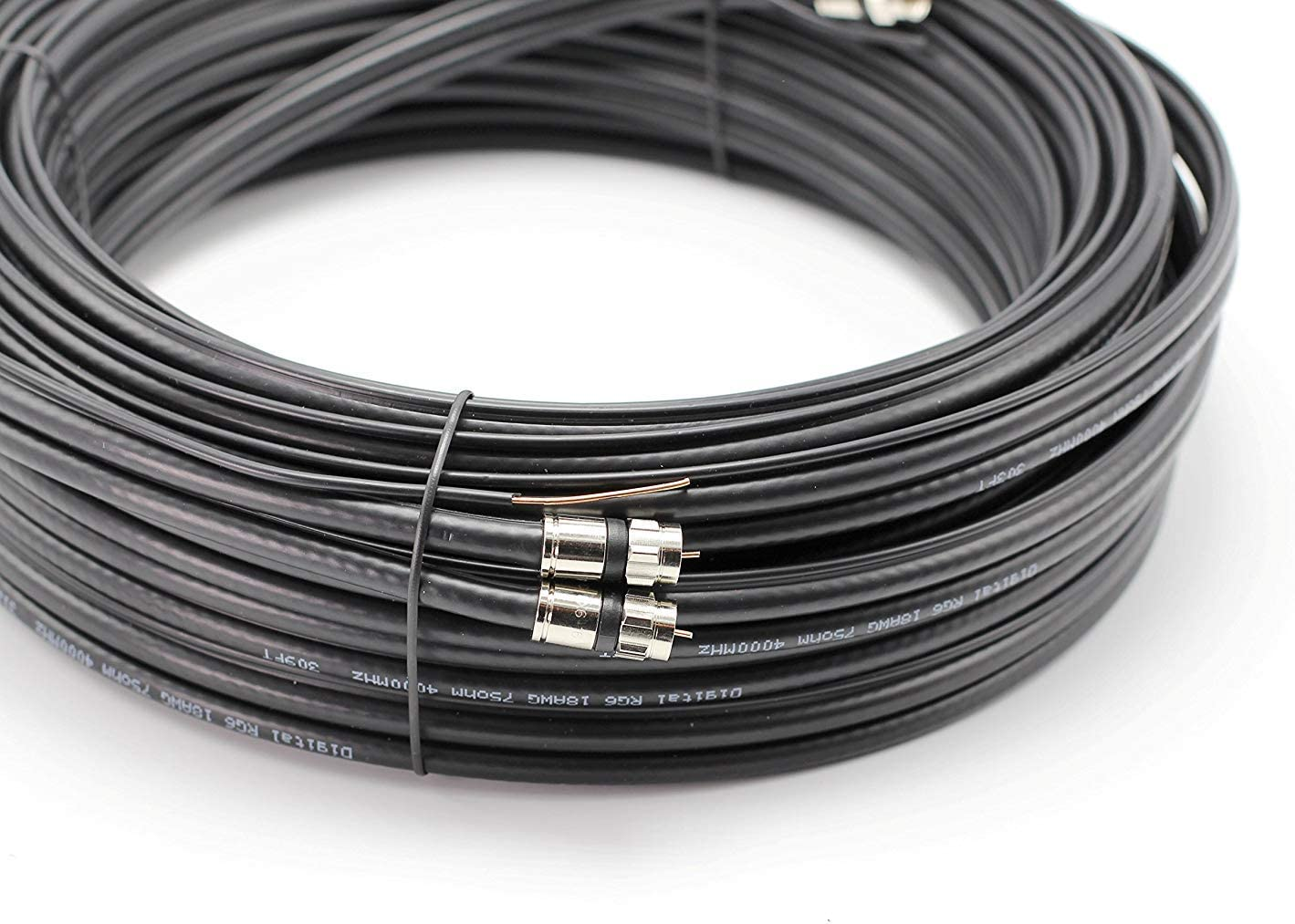 Siamese Cable Antenna /& CATV Quality Compression Connectors Black Satellite with 18AWG Copper Ground Wire 12ft Dual with Ground RG6 Coaxial Twin Coax Cable Made in The USA