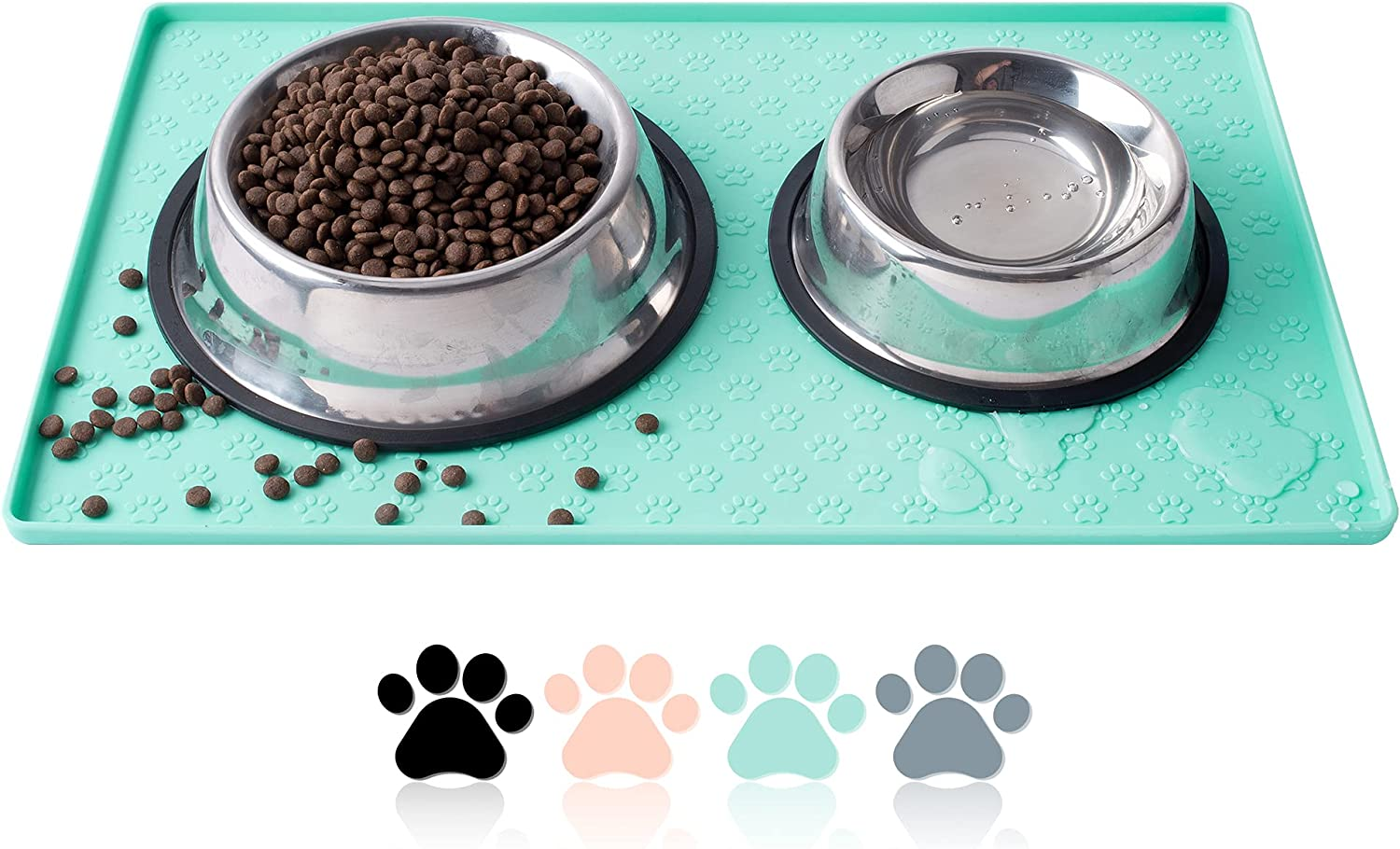 Coomazy Dog Cat Pet Feeding Mat, Silicone Waterproof Food Mat M, L- 0.4inch Raised Edges, Nonslip Pet Placemat Bowl Tray to Stop Food Spills and Water Messes Out to Floor