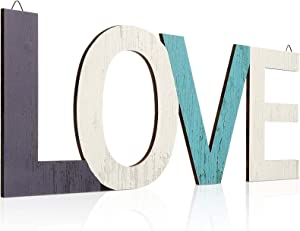 Hicarer Rustic Wood Family Sign Home Sign Love Sign Decor, Multicolor Decorative Word Signs Wooden Block Wall Letters for Home Living Room and Wall Decor (Love)
