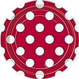 Unique Party - 37494 - Paquet de 8 Assiettes - Carton à Pois - 18 cm - Rouge