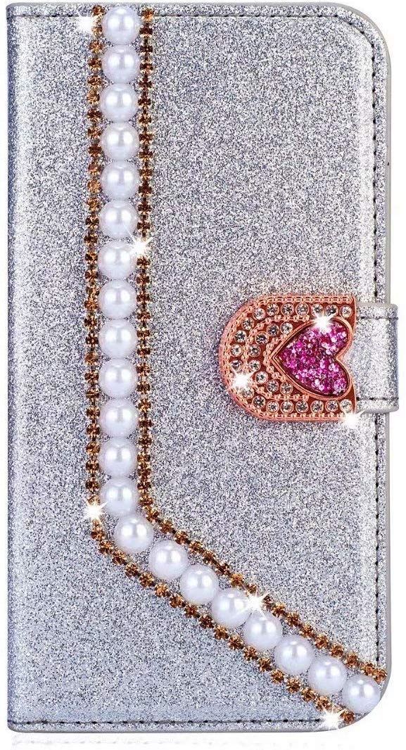 Surakey Cover Compatibile con iPhone XR Custodia Flip PU Pelle Glitter Brillantini Case Libro Portafoglio Cover con Supporto Porte Carte Anti-Scratch Custodia per iPhone XR,Oro Rosa