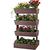 Aivituvin Vertical Raised Garden Bed with 4 Containers, Elevated Freestanding Herb Planter Box Growing Vegetable…