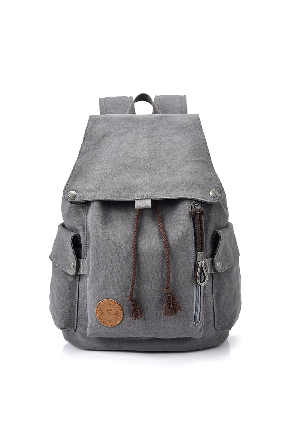 MIcoolker Canvas Shoulders Bag For Hiking Casual Weekend Pack Casual Backpack Schoolbag Grey