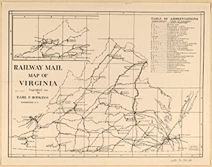 Virginia United States Map.Amazon Com Vintage 1910 Map Of Railway Mail Map Of Virginia United