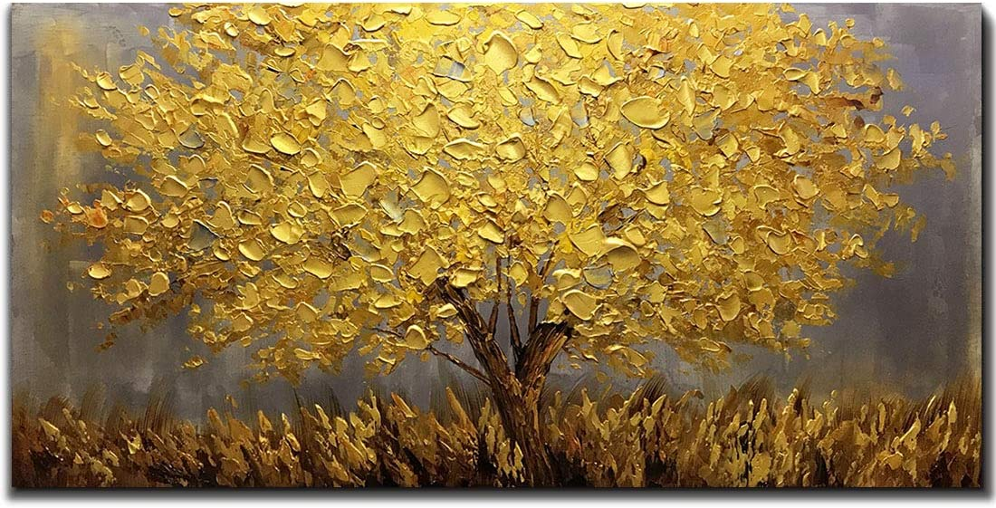 Boiee Art,24x48Inch 3D Hand Painted Abstract Golden Tree Oil Paintings on Canvas Landscape Artwork Texture Palette Knife Paintings Modern Home Decor Art Wood Inside Framed Hanging Wall Décor